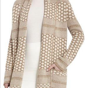 BCBG Shadia jacquard cream tan shawl sweater, Sm
